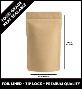 50 x KRAFT BROWN PAPER FOIL ZIP LOCK BAGS FOOD NUTS STAND UP POUCHES - 17x24CM