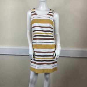 Next Ladies White Brown Yellow Stripe Sleeveless Smart Tailored Dress UK Size 12