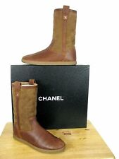 """CHANEL Leather Suede Quilted Shearling Boots, """"CC"""" Logo  sz 38.5  NIB"""