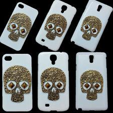 For Phones 3D Retro Bronze Metal Skull Punk Rivet Stud Hard Back Skin Case Cover