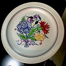 Vintage Hand Painted Poole Pottery Floral Bouquet Plate 10 inches