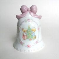 "Enesco 1997 Precious Moments Christmas Bell Pink Bow ""Songs of Joy"" BOY & GIRL"