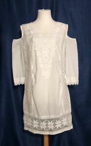 Siya tolles, raffiniertes Sommer-Kleid weiß Gr.42 Baumwolle mit Spitze