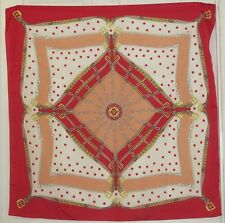 """TERRIART Rose, Peach, Gold Dots & Belts 34"""" Square Scarf-Vintage"""
