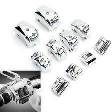 10pcs Chrome Switch Housing Cap Button Cover Set For Harley-Davidson Models Dyna