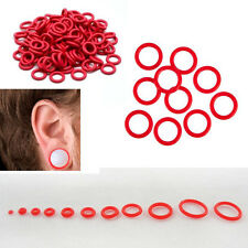 10 Pc RED Set/Lot Ear Plugs Gauges Tapers Tunnels Replacement Stretcher O-Rings