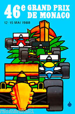 1988 46th Monaco Grand Prix Automobile Race Car Advertisement Vintage Poster