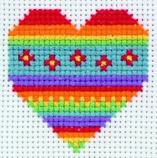 Rainbow Heart Counted Cross Stitch - Anchor 1st Kit
