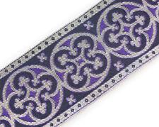 """Jacquard Trim Pugin Antique Reproduction Silver & Purple Vestment 2¼"""" Wide DIY"""