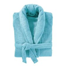 Turquoise Aqua Terry Towelling Bath Robe Dressing Gown 100% Cotton Medium Unisex