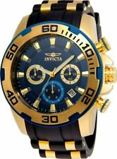 Invicta Pro Diver 22341 50mm Gold Stainless Steel Case with Black/Gold Silicone Band Men's Wristwatch