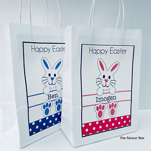 Personalised Easter Paper Gift Bag, Party Present Favour Easter Egg Hunt Box
