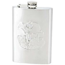 8oz Stainless Steel Flask Embossed Golf Scene /  FREE SHIPPING