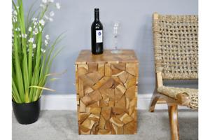 Teak wood block side table lamp table stool square wood coffee table solid wood