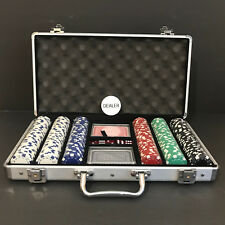 Professional Dealer Poker Chip Set Gambling with Carrying Case Cards Dice Keys