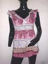 LEGERE TUNIQUE FEMME MOTIF FLEURI BLANC BEIGE NOIR ROSE FUSHIA T:36/38