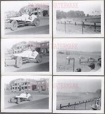 Lot of 6 Vintage 1952 Photos Dirt Track Racing Custom Race Car 714022