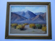 LARGE VINTAGE AMERICAN LANDSCAPE EARLY CALIFORNIA DESERT BLOOM MOUNTAINS STULTS