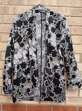 PRIMARK BLACK WHITE FLORAL SATIN LONG BLAZER TUNIC COAT JACKET KIMONO 8 S