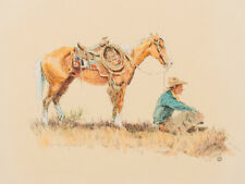"""Wieghorst, Olaf (1899-1988) """"Cowboy Sitting in front of Horse"""" Lot 338"""