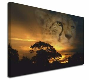 """Cheetah Watch X-Large 30""""x20"""" Canvas Wall Art Picture Print, Big Cat AT-41-C3020"""