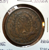 1837 Bank Token One 1 Penny  Canada Province Nice Grade Copper Collectible Coin