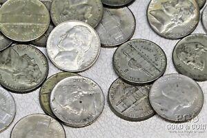 1942-1945 Jefferson War Nickels 5c 35% Silver Asst Date 45 US Coins $2.25 20727