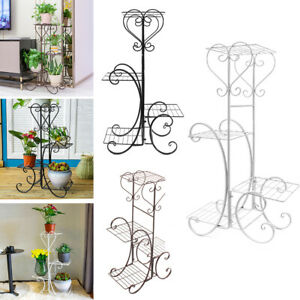 4 Tier Plant Pot Stand Iron Holder Flower Display Shelf Indoor Garden Home Decor