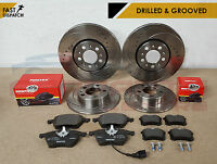 FOR GOLF AUDI TT A3 LEON IBIZA DRILLED GROOVED FRONT REAR BRAKE DISCS PADS 288mm