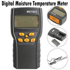 LCD Digital Grain Damp Moisture Temperature Meter Tester Measure Probe Detector