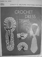 Strutt's Pattern Leaflet - CROCHET DRESS TRIMS - lacy collar, jabot, cuffs & tie