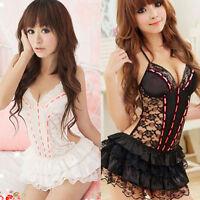 Hot Womens Sexy Lingerie Halter Babydoll G-String Lace Dress Underwear Nightwear