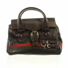 """GUCCI Web Heritage Tote Brown Leather Tote Bag, 10"""" X 5.5"""" X 12.1"""""""