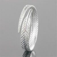 925 Sterling Silver Bangle Bracelet Open Cuff Bangle Engraved Feather Bracelets