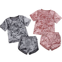 US STOCK Toddler Kids Baby Boy Girl Outfit Clothes T-shirt Tops+Short Pants Set