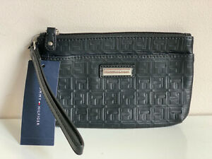 NEW! TOMMY HILFIGER BLACK LEATHER WALLET CLUTCH POUCH WRISTLET BAG PURSE SALE