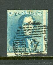 Belgium Scott #2 USED King Leopold I 20c blue CV$57+ ISH-1-1