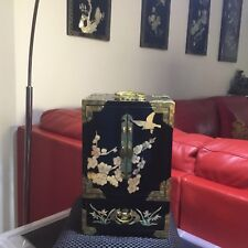 Vintage Asian Lacquered Jewellery Box With Mother Of Pearl -Will Post