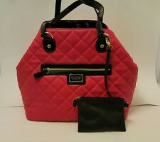 Used Betsey Johnson Pink, Black and Gold  tote handbag with small coin purse