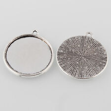 10 x Tibetan Antique Silver Cabochon Pendant Tray settings Round to fit 18mm