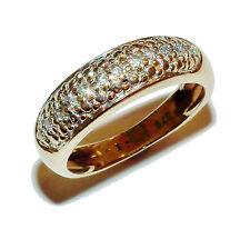Completamente marchiato 9ct Giallo Oro & 0.15ct Diamante FANCY Band-UK Taglia: L