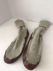 Acorn Men's Slipper Socks Size 10.5-11.5 Cream With Tan Soles Wool