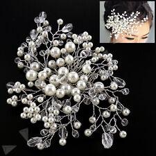 Bridal Wedding Hair Clip Comb Crystal Rhinestones Diamante Faux Pearls Party