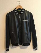 Men's VERSACE JEANS Mixed Media Leather Jacket Size Medium $395 Brand New