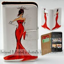 For HTC Series - Lady in Red Sketches Theme Print Wallet Mobile Phone Case Cover