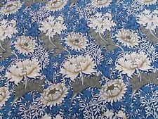 William Morris Curtain Fabric 'CHRYSANTHEMUM' 1 METRE Indigo/Cream 100%Cotton