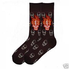K.Bell Men's Pair Socks Dark Brown Flamming Skulls Cotton Blend Socks New