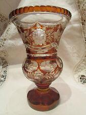 ancien grand vase en cristal de boheme signé taillé medicis decor floral