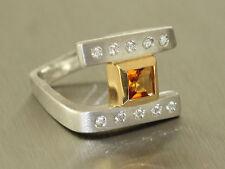 Massiver Designerring Weißgold 585 mit Brillanten und Citrin - Ring Gold Zitrin