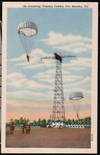 FORT BENNING GA Paratroop Training Tower Vtg Postcard Old Military Paratrooper